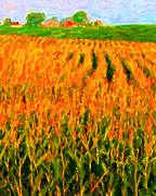 Harvest Art Digital Art Framed Prints - The Cornfield Framed Print by Wingsdomain Art and Photography