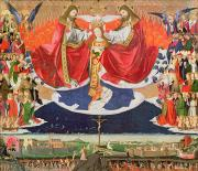 Virgin Mary Paintings - The Coronation of the Virgin by Enguerrand Quarton