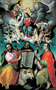 Queen Of Heaven Prints - The Coronation of the Virgin with Saints Luke Dominic and John the Evangelist Print by Bartolomeo Passarotti