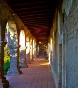 San Juan Framed Prints - The Corridor by the Serra Chapel San Juan Capistrano Mission California Framed Print by Karon Melillo DeVega