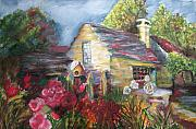 Log Cabin Pastels Prints - The Cottage Print by Annette Kagy