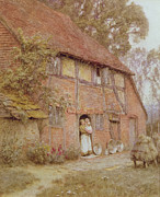 Wooden Home Posters - The Cottage with Beehives Poster by Helen Allingham