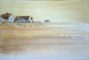 Hamptons Painting Prints - the cottages on BH Island Print by Amy Bernays