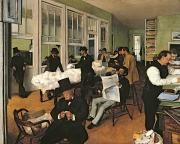 Business Paintings - The Cotton Exchange by Edgar Degas