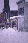 Vermont Country Store Framed Prints - The Country Store Amidst the Snow  Framed Print by Nancy Griswold