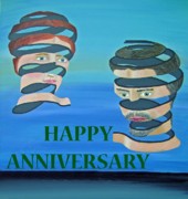Eric Kempson Painting Prints - The Couple HAPPY ANNIVERSARY Print by Eric Kempson