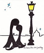 Streetlight Drawings Prints - The Couple in Paris Print by Janel Bragg