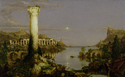 Fall  Of River Paintings - The Course of Empire - Desolation by Thomas Cole