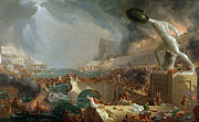 Boats Paintings - The Course of Empire - Destruction by Thomas Cole
