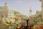 Temple Framed Prints - The Course of Empire - The Consummation of the Empire Framed Print by Thomas Cole
