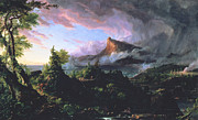Volcanic Prints - The Course of Empire - The Savage State Print by Thomas Cole