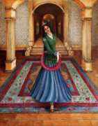 Belly Dance Paintings - The Court Dancer by Enzie Shahmiri