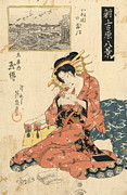 Ikeda Posters - The Courtesan Tamagushi of Tamaya Poster by Padre Art