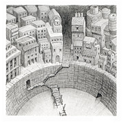 Tunnel Drawings Prints - The Cover Dwellers Plan Print by Mathew Borrett