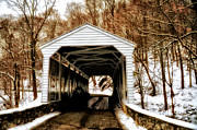 Valley Forge Acrylic Prints - The Covered Bridge at Valley Forge Acrylic Print by Bill Cannon