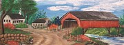 Covered Bridge Drawings Posters - The Covered Bridge Poster by Maggie  Welker