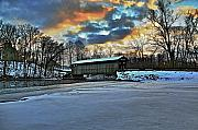 Snow-covered Landscape Art - The covered bridge by Robert Pearson