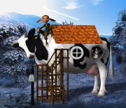 The  White House Digital Art - The Cow House by Jutta Maria Pusl