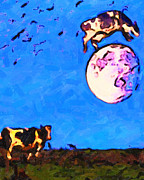 Surreal Fantasy Art Posters - The Cow Jumped Over The Moon . Painterly Poster by Wingsdomain Art and Photography