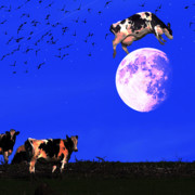 Summer Digital Art Metal Prints - The Cow Jumped Over The Moon . Square Metal Print by Wingsdomain Art and Photography