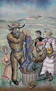 Ranch Drawings Posters - The Cow People - Dream Series 4 Poster by Dawn Senior-Trask