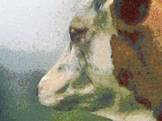 Picturesque Painting Prints - The cow portrait Print by Odon Czintos