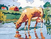 Storybook Paintings - The Cow by Valerian Ruppert