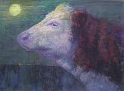 Farm Animals Pastels Prints - The Cow Who Sang to the Moon Print by Susan Williamson