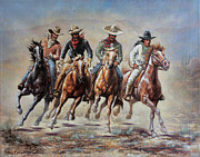 Group Of Horses Prints - The Cowboys Print by Harvie Brown