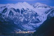 Winter Night Posters - The Cozy Lighted Village Of Telluride Poster by Paul Chesley