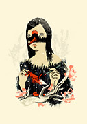 Ink Art Posters - The Crane Wife Poster by Budi Satria Kwan