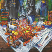 Louisiana Seafood Paintings - The Crawfish Boil by Dianne Parks