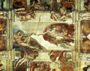Michelangelo Painting Framed Prints - The Creation of Adam Framed Print by Michelangelo
