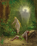 Dore Painting Posters - The Creation of Eve Poster by Gustave Dore