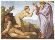 Religious Art Painting Posters - The Creation of Eve Poster by Michelangelo Buonarroti