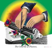 Woodcuts Digital Art - The Creation of Flowers by Eric Edelman
