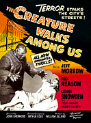 1956 Movies Photo Posters - The Creature Walks Among Us, 1956 Poster by Everett