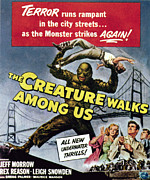 1950s Poster Art Framed Prints - The Creature Walks Among Us, Bottom Framed Print by Everett