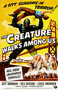 1950s Poster Art Framed Prints - The Creature Walks Among Us, Don Framed Print by Everett