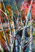 Autumn Trees Mixed Media Prints - The Cries of Autumn Print by Mindy Newman