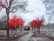 Benches Photos - The Crimson Trees by Tara Turner