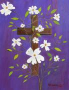 Ruth Housley Metal Prints - The Cross and Dogwood Metal Print by Ruth  Housley