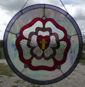 Cross Glass Art - The Cross  Heart and Rose a stained glass panel by Carl Correll