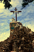 The Pieta Prints - The Cross III in the Grotto in Iowa Print by Susanne Van Hulst