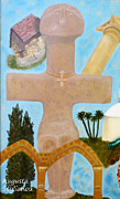 Byzantine Framed Prints - The Cross-like Idol of Pomos Framed Print by Augusta Stylianou