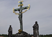 Town Square Prints - The Crucifix and Calvary - Prague Print by Jon Berghoff