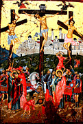 Egg Tempera Painting Prints - The Crucifixion Print by Artur Sula