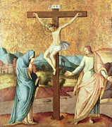 Virgin Mary Paintings - The Crucifixion with the Virgin and St John the Evangelist by French School