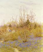 Bluebells Paintings - The Cuckoo by Helen Allingham