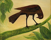 Award Winning Painting Originals - The Curious Blackbird by Maureen Ida Farley